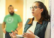 Rebecca Goncalves, 20 of Kearny, New Jersey speaks about the PERSIST program Thursday, November 10, 2016 at the College of New Jersey Science Building in Ewing, Pennsylvania.  The College of New Jersey has an NSF grant-funded program, PERSIST, to help low-income biology and chemistry students by giving them scholarships, peer and faculty mentors, mandatory weekly tutoring, additional freshman orientation, and workshops throughout the semester. (WILLIAM THOMAS CAIN / For The Philadelphia Inquirer)