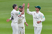 Wicket - Steve Magoffin of Worcestershire celebrates taking the wicket of Jimmy Adams of Hampshire during the Specsavers County Champ Div 1 match between Hampshire County Cricket Club and Worcestershire County Cricket Club at the Ageas Bowl, Southampton, United Kingdom on 13 April 2018. Picture by Graham Hunt.