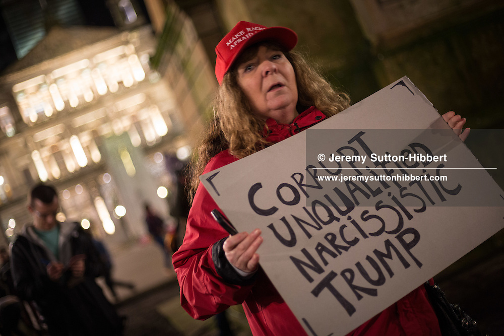 Protest against the policies and Presidency of Donald Trump, President of the United States of America, in George Square, Glasgow, Scotland, on 30  January  2017.