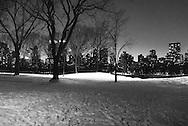 New York. Central park under the snow. Manhattan skyline / Central park sous la neige.