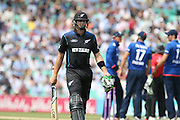 New Zealand Martin Guptill is out and walks to the pavilion during the Royal London One Day International match between England and New Zealand at the Oval, London, United Kingdom on 12 June 2015. Photo by Phil Duncan.