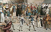 Paris during the League (La Ligue). Illustration based on pictures of the Procession of the League 24 May 1590, showing typical soldiers and civic guards armed with pikes and arquebuses, Papal Legate Cajetan, priests, monks, friars, and members of Bourgeoisie.  White cross on hats is a reminder of the Massacre of St Bartholemew. Chromolithograph