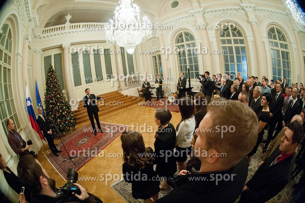 Jernej Pikalo and Borut Pahor during reception at Slovenian president Borut Pahor prior to the Slovenian Sports personality of the year 2013 annual awards presented on the base of Slovenian sports reporters, on December 19, 2013 in President palace, Ljubljana, Slovenia.  Photo by Vid Ponikvar / Sportida