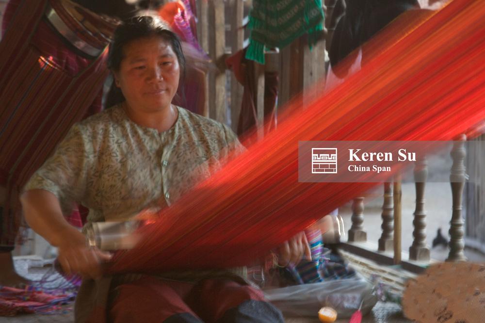 Palaung woman weaving, Kengtung, Myanmar