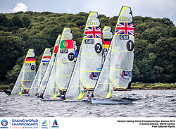 Aarhus, Denmark is hosting the 2018 Hempel Sailing World Championships from 30 July to 12 August 2018. More than 1,400 sailors from 85 nations are racing across ten Olympic sailing disciplines as well as Men's and Women's Kiteboarding. <br /> 40% of Tokyo 2020 Olympic Sailing Competition places will be awarded in Aarhus as well as 12 World Championship medals. ©JESUS RENEDO/SAILING ENERGY/AARHUS 2018<br /> 11 August, 2018.