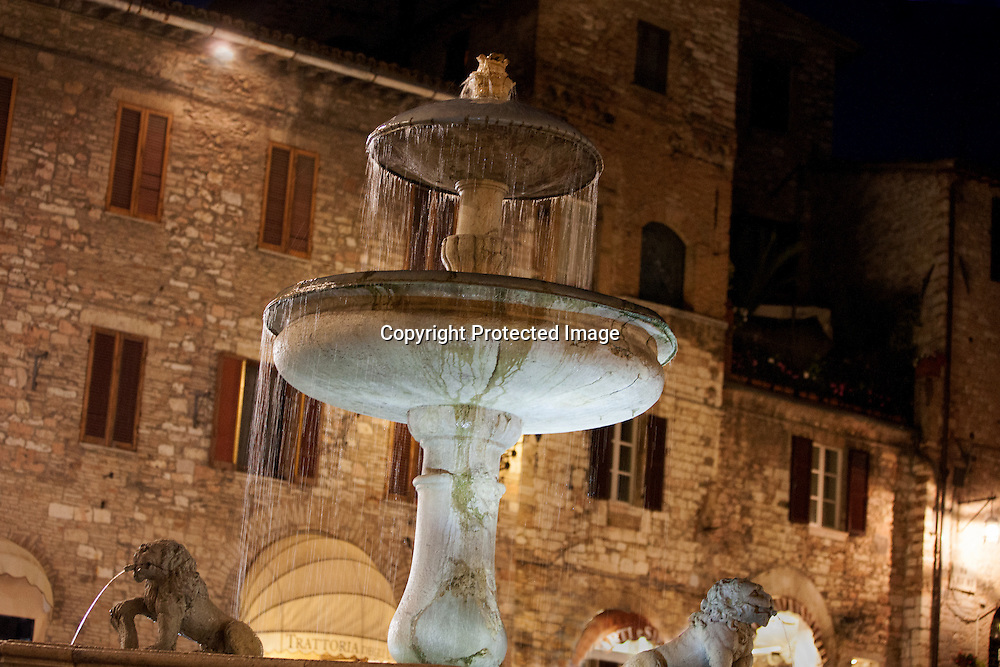 "In the Piazza Del Comune stands this beautiful fountain called the ""Fontana dei Tre Leoni"" the Fountain of Three Lions. The fountain was erected in 1762 by Giovanni Martinucci.The combination of the water, lights and gorgeous architecture truly captured my heart. Assisi is a place I plan to visit a number of times in my life."