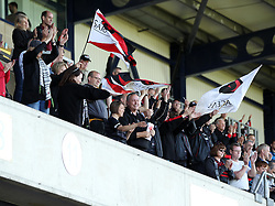 Saracens fans celebrate reaching the Playoffs - Photo mandatory by-line: Robbie Stephenson/JMP - Mobile: 07966 386802 - 16/05/2015 - SPORT - Rugby - Oxford - Kassam Stadium - London Welsh v Saracens - Aviva Premiership