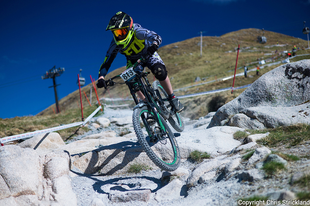 Nevis Range, Fort William, Scottish Highlands, UK. 14th May 2016. Mountain bikers compete in the British Downhill Series on Nevis Range in the Scottish Highlands.