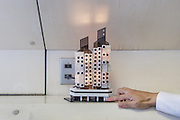 Tokyo, Japan, July 23 2016 - Capsule #B1004. Original model (1972) for the commemoration of the completion of construction of the Nakagin Capsule Tower, designed by architect Kisho Kurokawa and completed in 1972. The building is a rare example of Metabolism architecture movement.