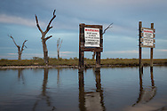 Pipeline warning sign in marsh with dead live oak trees in Point au Chien, Louisiana. Point au Chien is subject to coastal erosion. The area is inhabited by members of the Point-aux-Chien indian tribe and fishermen.