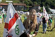 Young supporter of Lega Nord (North League party) at Pontida meeting, Sunday, June 19, 2011. © Carlo Cerchioli..Una giovane militante della Lega Nord al raduno di Pontida, 19 giugno 2011.