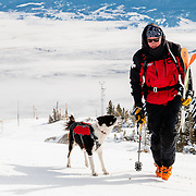 Ski patroller Peter Linn and his avalanche rescue dog Goose.