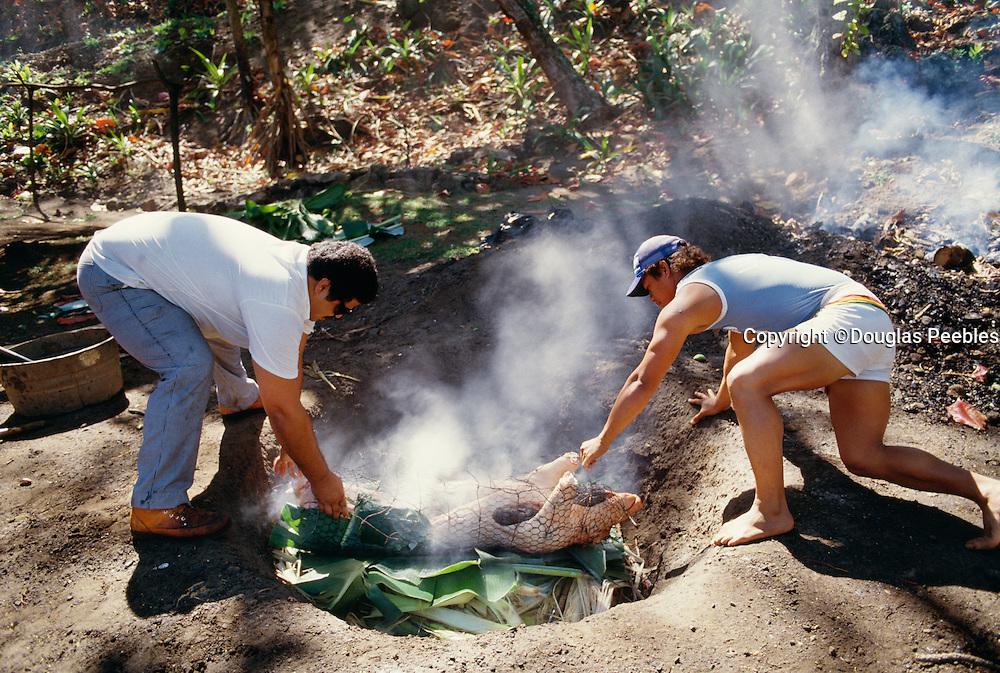 Pig in imu; Luau; Hawaii; oven