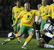 Derby - Tuesday October 28th, 2008: Matthew Pattison of Norwich City has his goal attempt blocked against by Miles Addison of Derby County during the Coca Cola Championship match at Pride Park, Derby. (Pic by Michael Sedgwick/Focus Images)