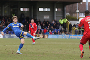 Jake Reeves of AFC Wimbledon makes it 2-1 with a long range effort during the Sky Bet League 2 match between AFC Wimbledon and York City at the Cherry Red Records Stadium, Kingston, England on 19 March 2016. Photo by Stuart Butcher.