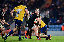 Enrique Pieretto of Exeter Braves is tackled by Bath United - Mandatory by-line: Ryan Hiscott/JMP - 16/12/2019 - RUGBY - Sandy Park - Exeter, England - Exeter Braves v Bath United - Premiership Rugby Shield