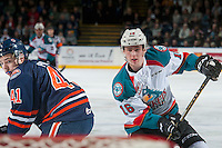KELOWNA, CANADA - JANUARY 27: Garrett Pilon #41 of the Kamloops Blazers back checks Kole Lind #16 of the Kelowna Rockets on January 27, 2017 at Prospera Place in Kelowna, British Columbia, Canada.  (Photo by Marissa Baecker/Shoot the Breeze)  *** Local Caption ***