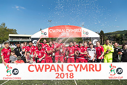 NEWTOWN, WALES - Sunday, May 6, 2018: Connahs Quay Nomads lift the FAW Welsh Cup following a 4-1 victory in the FAW Welsh Cup Final between Aberystwyth Town and Connahs Quay Nomads at Latham Park. (Pic by Paul Greenwood/Propaganda)