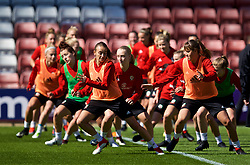 SOUTHAMPTON, ENGLAND - Thursday, April 5, 2018: Wales' Kayleigh Green and Gemma Evans during a training session at St. Mary's Stadium ahead of the FIFA Women's World Cup 2019 Qualifying Round Group 1 match against England. (Pic by David Rawcliffe/Propaganda)