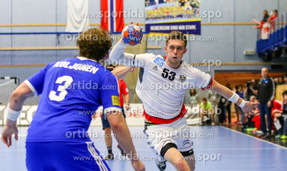 17.01.2016, BSFZ Südstadt, Maria Enzersdorf, AUT, IHF WM Qualifikation, Österreich vs Finnland, im Bild Nikola Bilyk (AUT)// during the men 's IHF Handball World Championship Qualifier match between Austria and Finland at the BSFZ Südstadt, Maria Enzersdorf, Austria on 2016/01/17, EXPA Pictures © 2016, PhotoCredit: EXPA/ Sebastian Pucher