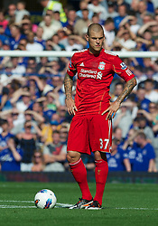 LIVERPOOL, ENGLAND - Saturday, October 1, 2011: Liverpool's Martin Skrtel in action against Everton during the Premiership match at Goodison Park. (Pic by David Rawcliffe/Propaganda)