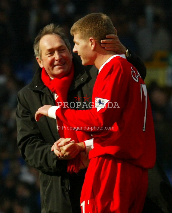 LIVERPOOL, ENGLAND - Saturday, April 19, 2003: Liverpool's manager Ge?rard Houllier celebrates a 2-1 victory over Everton with captain Stephen Gerrard after the Merseyside Derby Premiership match at Goodison Park. (Pic by David Rawcliffe/Propaganda)