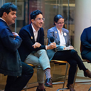 SEPTEMBER 26, 2017---MIAMI, FLORIDA---<br /> Panel members, from left; Jorge Perez Jaramillo, Alejandro Haiek and Lorena Z&aacute;rate during discussion moderated by Dr. Sonia Chao. This was part of the Miami Dade College series, By the People.<br /> (Photo by Angel Valentin/Freelance).