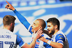 James Vaughan of Wigan Athletic (C) celebrates after scoring his sides second goal - Mandatory by-line: Jack Phillips/JMP - 30/03/2018 - FOOTBALL - DW Stadium - Wigan, England - Wigan Athletic v Oldham Athletic - Football League One
