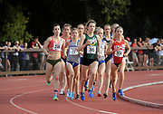 Maddie Van Beek (539), Allie Ostrander (72) of Boise State, Marie Bouchard (395) of San Francisco and Grayson Murphy (554) of Utah lead the women's steeplechase in the Stanford Invitational in Stanford, Calif., Friday, Mar 30, 2018. Ostrander won in 9:38,57. Bouchard was second in 9:47.03 and Murphy was third in 9:51.36. (Gerome Wright/Image of Sport)