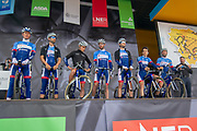 The Total Direct Energie riders on stage ahead of the start of the first stage of the Tour de Yorkshire from Doncaster to Selby, Doncaster, United Kingdom on 2 May 2019.