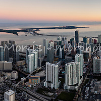 Wide panorama of downtown Miami and Brickell financial district at twilight looking east toward Biscayne Bay.   This version is watermarked, contact us to license and clean.