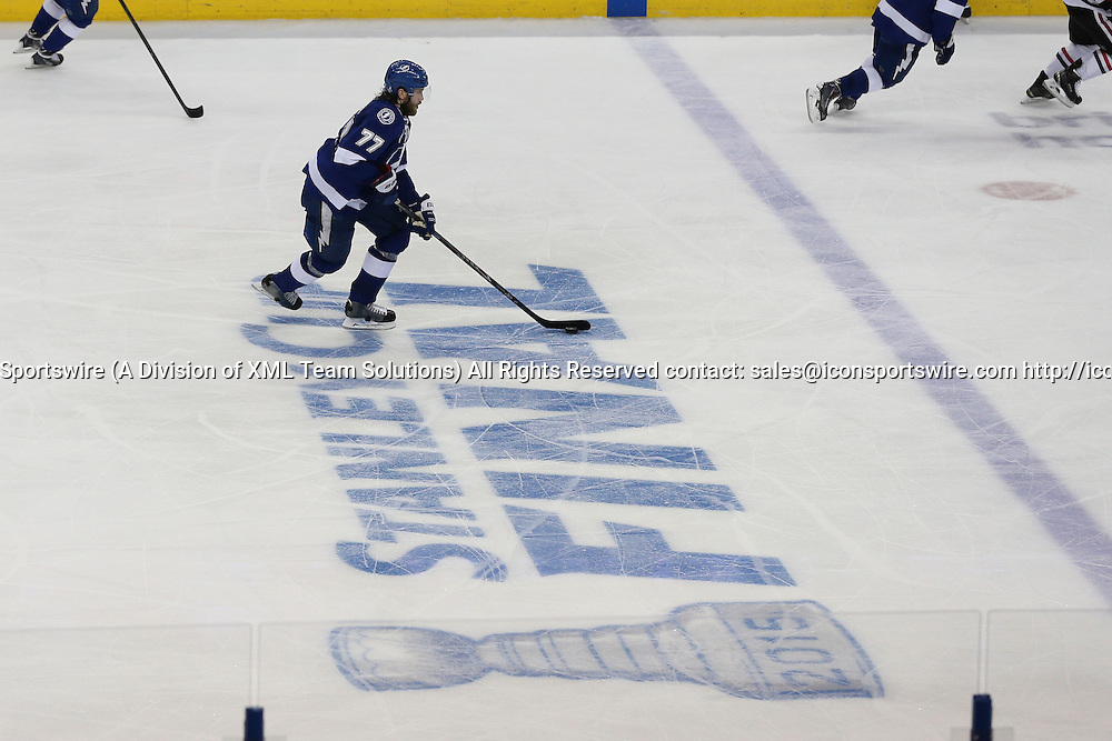 06 June 2015: Tampa Bay Lightning defenseman Victor Hedman (77) skates the puck up ice in the 3rd period of Game 2 of the Stanley Cup Finals between the Chicago Blackhawks and Tampa Bay Lightning at Amalie Arena in Tampa, FL.