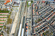 Nederland, Noord-Holland, Alkmaar, 20-04-2015; NS stadtion en de Spoorbuurt, noordwestelijk van de binnenstad.<br /> Station quarter, Alkmaar inner city.<br /> luchtfoto (toeslag op standard tarieven);<br /> aerial photo (additional fee required);<br /> copyright foto/photo Siebe Swart
