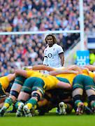 Twickenham, United Kingdom, Englands' Marland YARDE, looks over the scrum, during the  the 2013 QBE Autumn Rugby International, England vs Australia, played on<br /> Saturday  02/11/2013.  RFU Stadium Twickenham,<br /> England. [Mandatory Credit: Peter Spurrier/Intersport<br /> Images]
