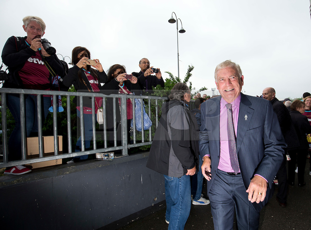 © Licensed to London News Pictures. 10/05/2016. LONDON, UK. West Ham Legend Sir Trevor Brooking arrives atThe Boleyn Ground for the clubs final game against Manchester United. Photo credit: LNP