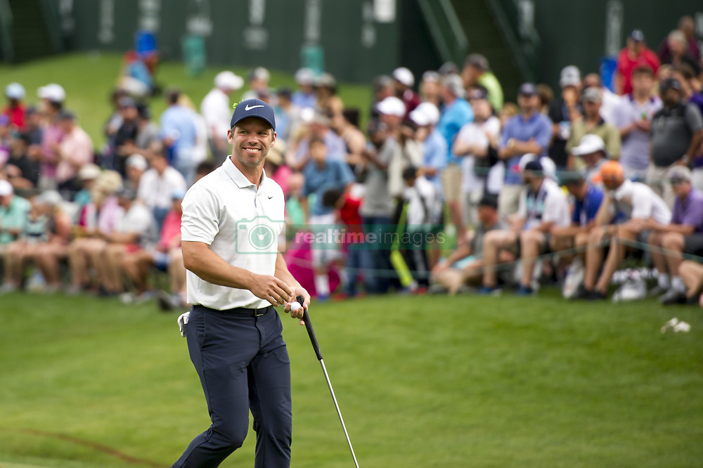 May 5, 2019 - Charlotte, North Carolina, United States of America - Paul Casey smiles after finishing his round on the eighteenth hole during the final round of the 2019 Wells Fargo Championship at Quail Hollow Club on May 05, 2019 in Charlotte, North Carolina. (Credit Image: © Spencer Lee/ZUMA Wire)