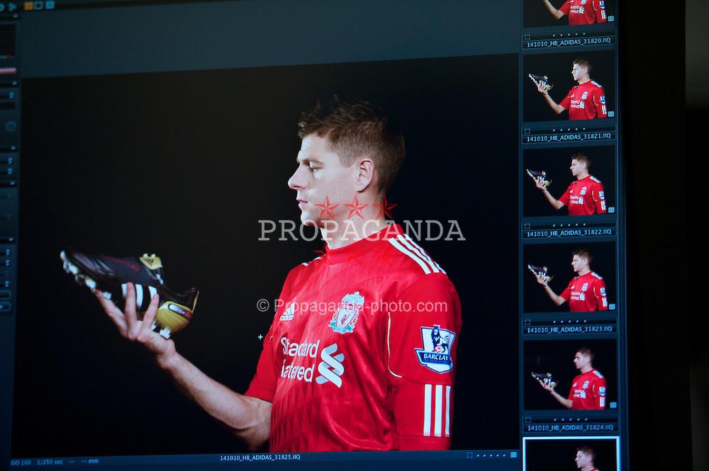 LIVERPOOL, ENGLAND - Thursday, October 14, 2010: Liverpool's captain Steven Gerrard MBE during an Adidas photo shoot. (Pic by David Rawcliffe/Propaganda)