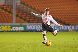 BLACKPOOL, ENGLAND - Wednesday, December 18, 2013: Liverpool's Harry Wilson scores his side's third penalty of the shoot-out against Blackpool to make the score 2-1 during the FA Youth Cup 3rd Round match at Bloomfield Road. (Pic by David Rawcliffe/Propaganda)