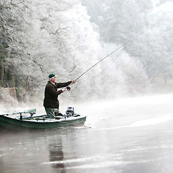 Start of the Salmon fishing season, at Dunkeld, Scotland, January 2012