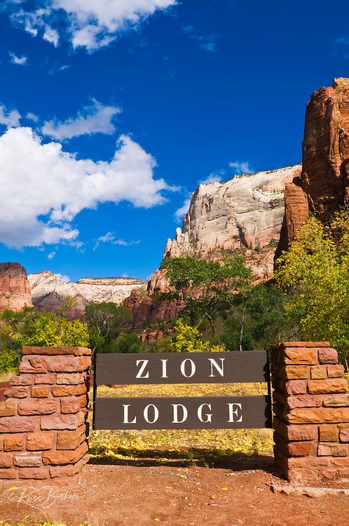 The Zion Lodge sign, Zion National Park, Utah