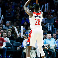 09 December 2017: Washington Wizards center Ian Mahinmi (28) is seen at the free throw line during the LA Clippers 113-112 victory over the Washington Wizards, at the Staples Center, Los Angeles, California, USA.