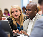 Houston ISD staff collaborate during the Summer Leadership Institute at Reliant Center, June 18, 2014.