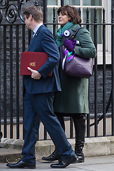 Claire Perry, Minister of State for Energy and Clean Growth and Secretary of State for Business, Energy and Industrial Strategy Greg Clark arrive at 10 Downing Street in London to attend the weekly meeting of the UK cabinet - London. February 06 2018.