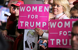 October 27, 2016 - Toledo, Ohio, United States - Female supporters hold ''Women for Trump'' signs during a campaign rally at SeaGate Center in Toledo, Ohio, United States on October 27, 2016. (Credit Image: © Emily Molli/NurPhoto via ZUMA Press)