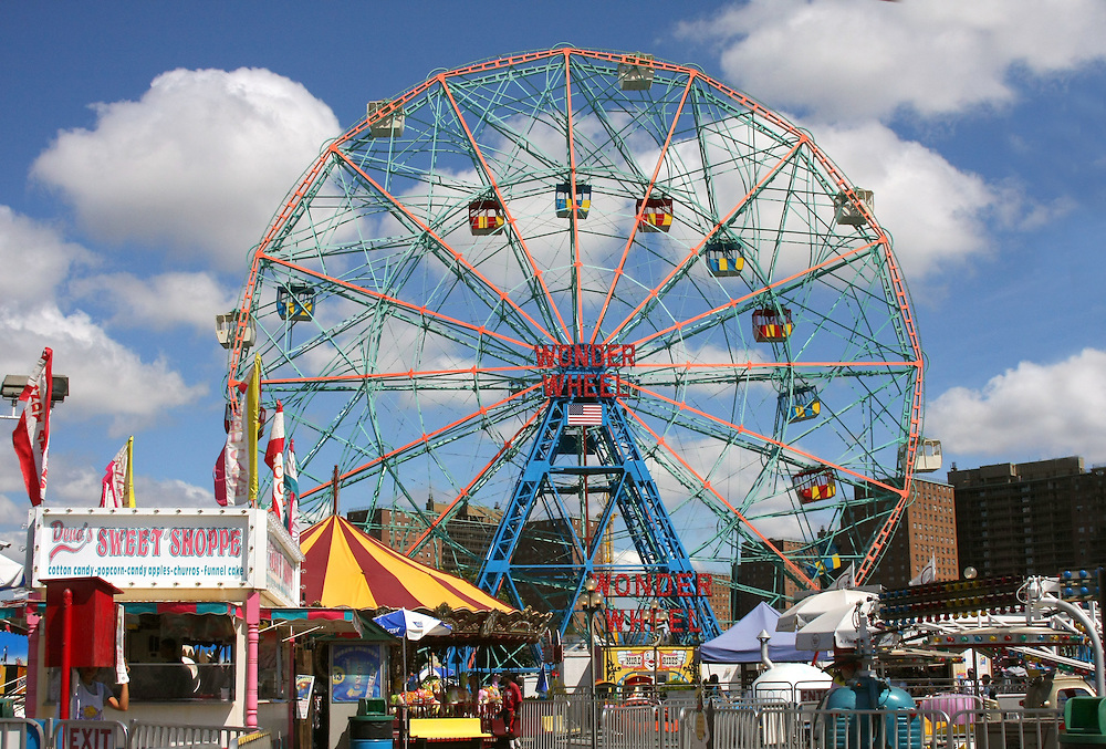 "A good view of the famous ""Wonder Wheel"" on a late May afternoon."