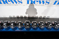 KELOWNA, CANADA - SEPTEMBER 21:  Helmets of Kelowna Rockets players line the bench prior to the regular season home opener at the Kelowna Rockets on September 21, 2013 at Prospera Place in Kelowna, British Columbia, Canada (Photo by Marissa Baecker/Shoot the Breeze) *** Local Caption ***