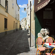 Small cafe table at Montmartre quarter at Paris