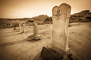 Tombstones in the Grafton Cemetery, Grafton ghost town, Utah USA
