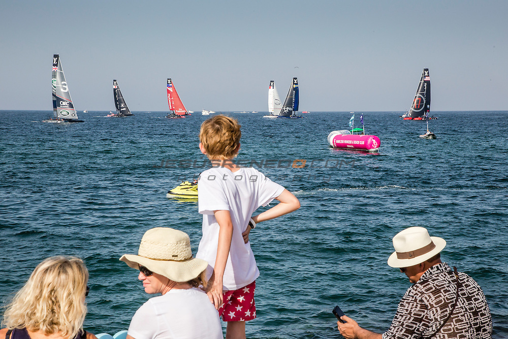America's Cup arrives in Muscat.Practice race.Louis Vuitton America's Cup World Series Oman 2016.First day of racing.Muscat ,The Sultanate of Oman.Image licensed to Jesus Renedo/Lloyd images/Oman Sail