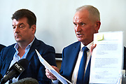 Warsaw, Poland - 2017 March 14: (L) Piotr Robert Radwanski and (R) Miroslaw Skrzypczynski Board Member at Polish Tennis Federation attend in Press Conference at Centrum Konferencyjne Wilcza 9 on March 14, 2017 in Warsaw, Poland.<br /> <br /> Mandatory credit:<br /> Photo by &copy; Adam Nurkiewicz / Mediasport<br /> <br /> Adam Nurkiewicz declares that he has no rights to the image of people at the photographs of his authorship.<br /> <br /> Picture also available in RAW (NEF) or TIFF format on special request.<br /> <br /> Any editorial, commercial or promotional use requires written permission from the author of image.<br /> <br /> Image can be used in the press when the method of use and the signature does not hurt people on the picture.
